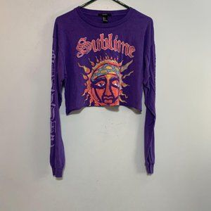 Forever 21 Purple Sublime Long Sleeve Crop Top S